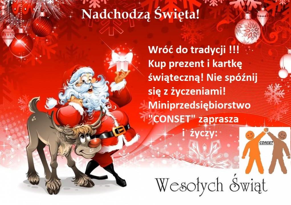 """Miniprzedsiębiorstwo """"CONSET"""" zaprasza i życzy wszystkim Wesołych Świąt!"""